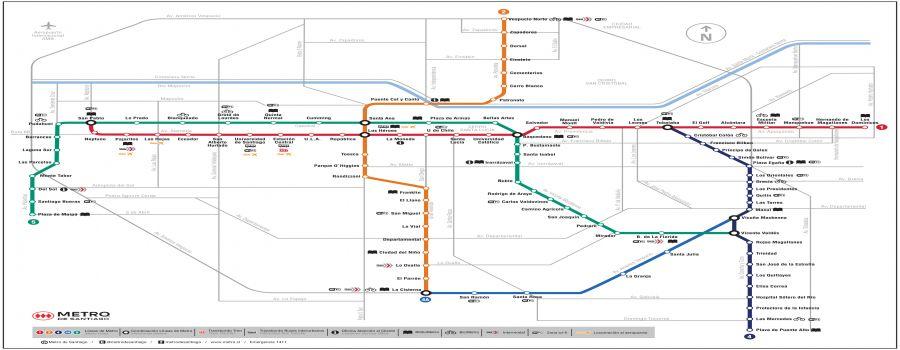 Santiago Subway Map.Subway Santiago De Chile Guide